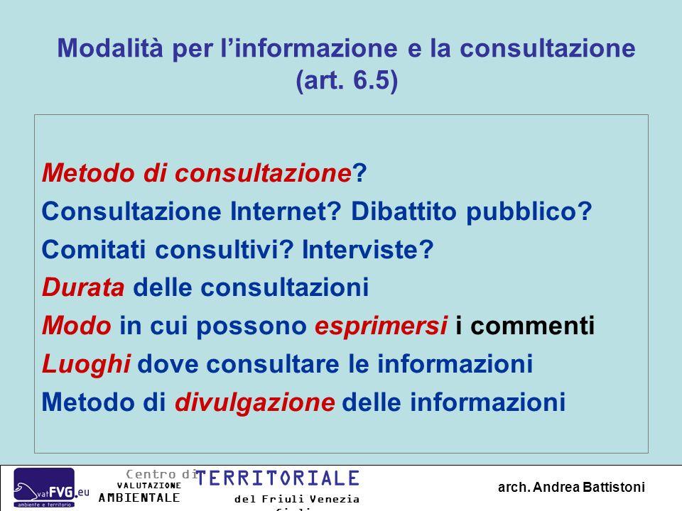 Modalità per linformazione e la consultazione (art. 6.5) Metodo di consultazione? Consultazione Internet? Dibattito pubblico? Comitati consultivi? Int