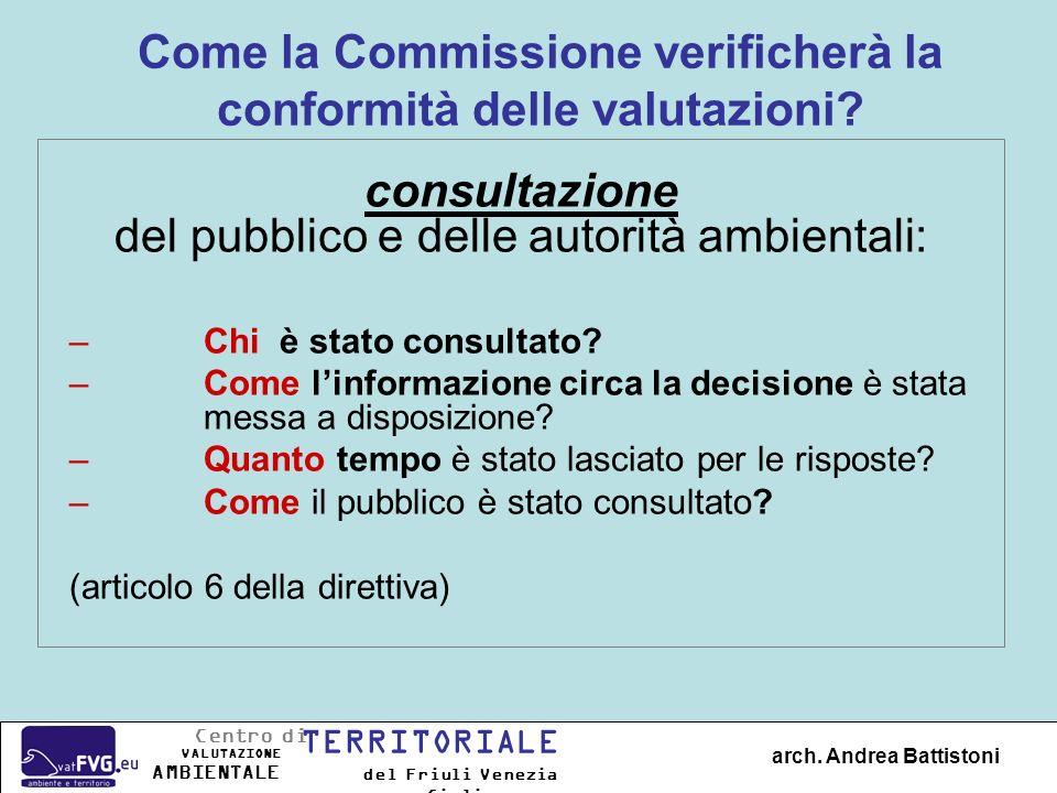 Come la Commissione verificherà la conformità delle valutazioni? consultazione del pubblico e delle autorità ambientali: –Chi è stato consultato? –Com