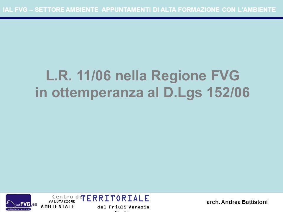 IAL FVG – SETTORE AMBIENTE APPUNTAMENTI DI ALTA FORMAZIONE CON L'AMBIENTE arch. Andrea Battistoni L.R. 11/06 nella Regione FVG in ottemperanza al D.Lg
