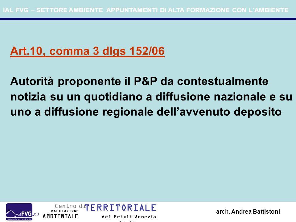 IAL FVG – SETTORE AMBIENTE APPUNTAMENTI DI ALTA FORMAZIONE CON L'AMBIENTE arch. Andrea Battistoni Art.10, comma 3 dlgs 152/06 Autorità proponente il P