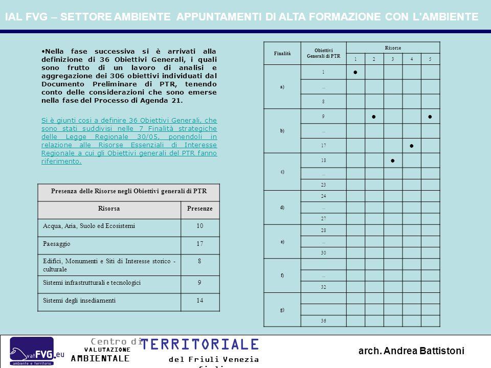 Nella fase successiva si è arrivati alla definizione di 36 Obiettivi Generali, i quali sono frutto di un lavoro di analisi e aggregazione dei 306 obie