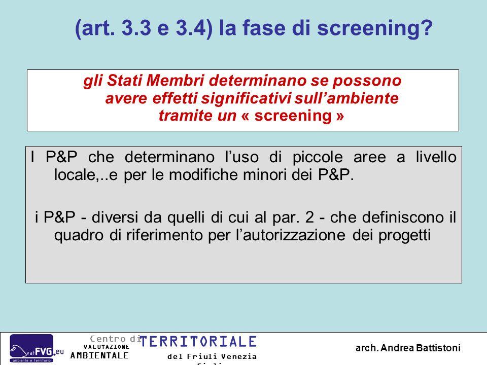 (art. 3.3 e 3.4) la fase di screening? I P&P che determinano luso di piccole aree a livello locale,..e per le modifiche minori dei P&P. i P&P - divers
