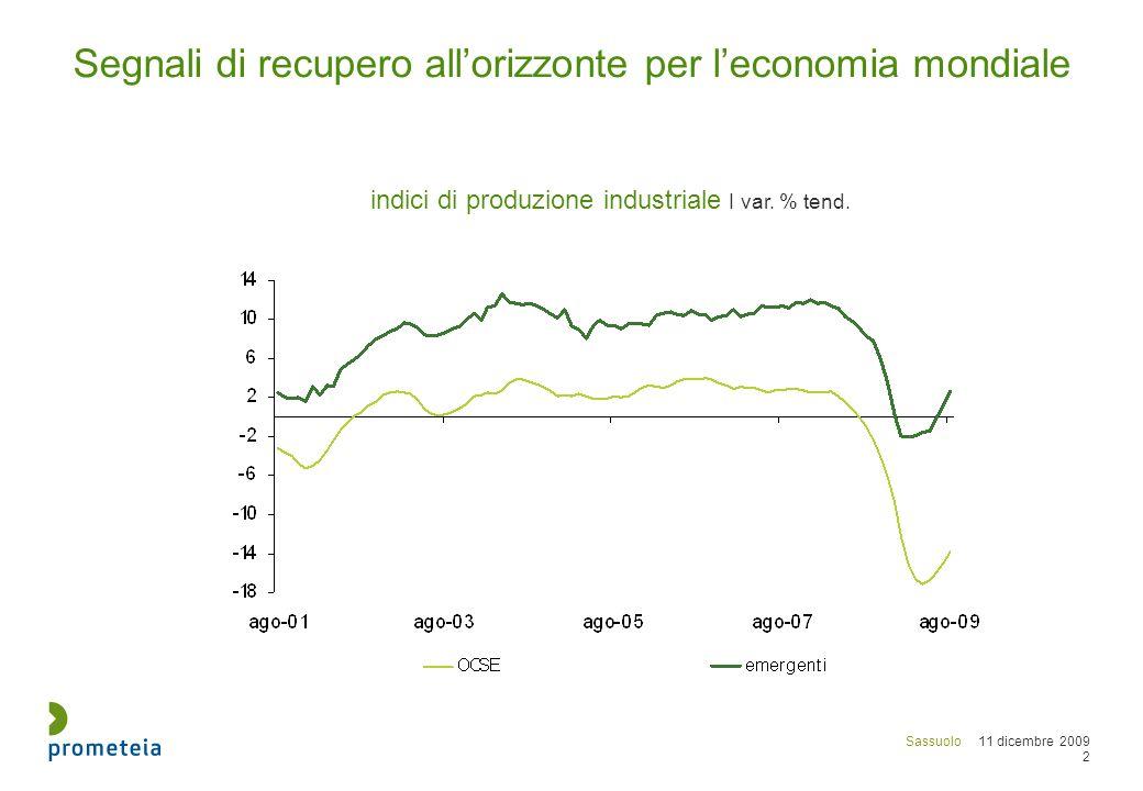 Sassuolo 11 dicembre 2009 3 1| Il 2010 potrebbe essere peggiore del già terribile 2009 : - ancora in calo i mercati rilevanti per i produttori italiani di piastrelle - difficile il recupero dal lato dei margini sulle vendite 2| Permane una situazione molto difficile anche nel medio periodo - la domanda sui mercati rilevanti non ritornerà alla situazione pre crisi - crescono le pressioni competitive portate dai nuovi concorrenti 3|Le imprese italiane sembrano resistere meglio delle imprese spagnole..ma non per il settore delle piastrelle