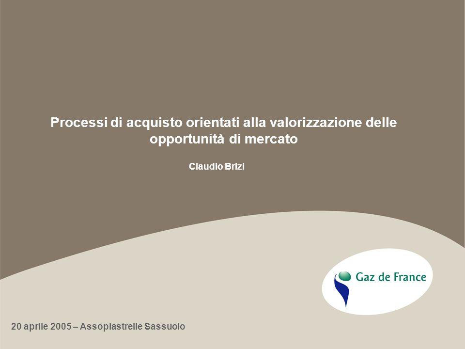Processi di acquisto orientati alla valorizzazione delle opportunità di mercato Claudio Brizi 20 aprile 2005 – Assopiastrelle Sassuolo