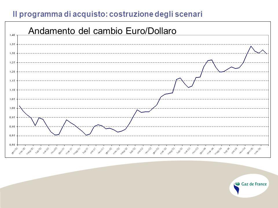 Il programma di acquisto: costruzione degli scenari Andamento del cambio Euro/Dollaro