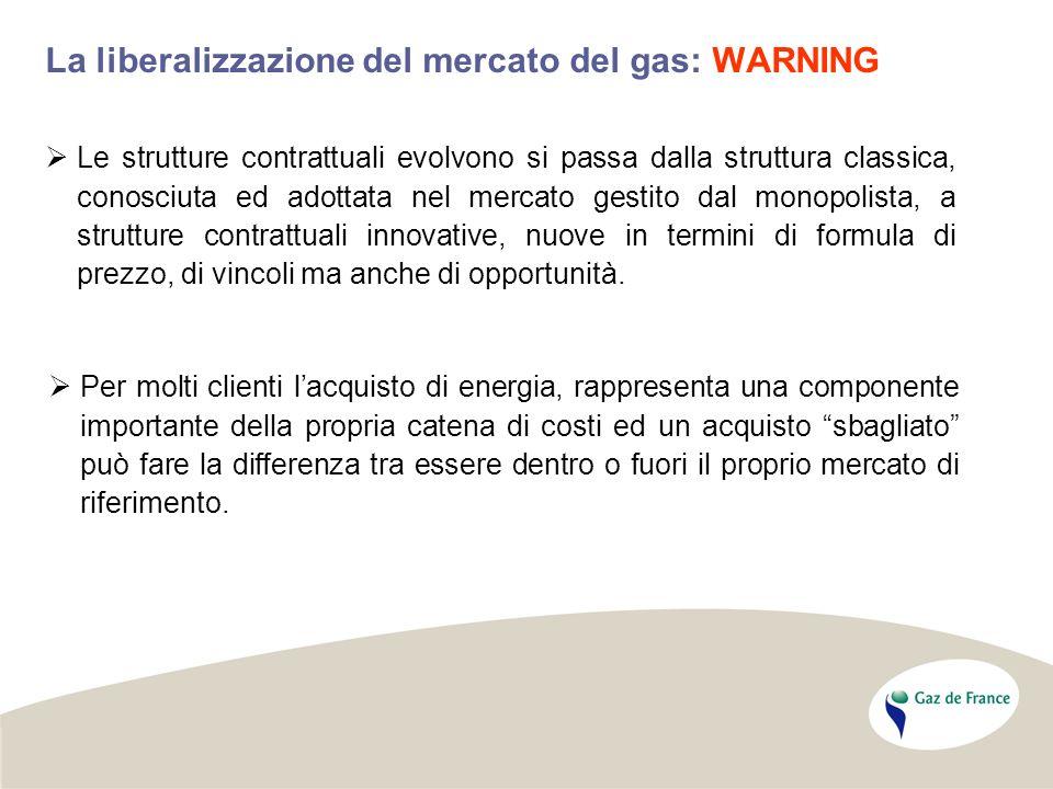 La liberalizzazione del mercato del gas: WARNING Per molti clienti lacquisto di energia, rappresenta una componente importante della propria catena di costi ed un acquisto sbagliato può fare la differenza tra essere dentro o fuori il proprio mercato di riferimento.