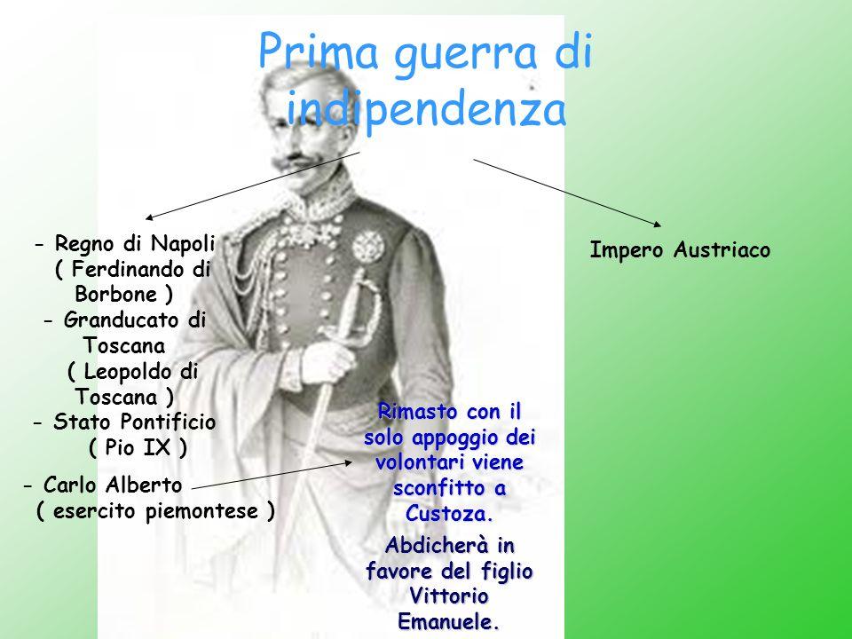 Prima guerra di indipendenza - Carlo Alberto ( esercito piemontese ) Impero Austriaco - Regno di Napoli ( Ferdinando di Borbone ) - Granducato di Tosc
