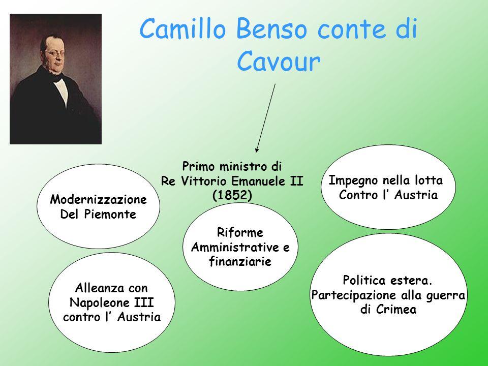 Camillo Benso conte di Cavour Primo ministro di Re Vittorio Emanuele II (1852) Impegno nella lotta Contro l Austria Modernizzazione Del Piemonte Polit