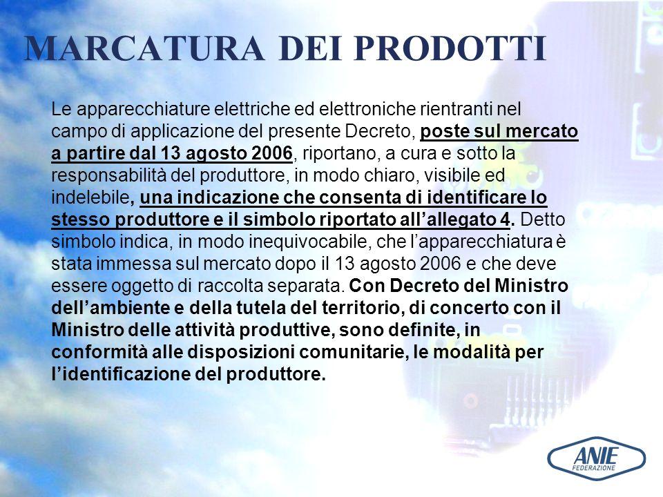MARCATURA DEI PRODOTTI Le apparecchiature elettriche ed elettroniche rientranti nel campo di applicazione del presente Decreto, poste sul mercato a pa