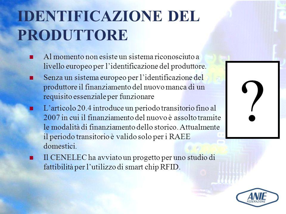 IDENTIFICAZIONE DEL PRODUTTORE Al momento non esiste un sistema riconosciuto a livello europeo per lidentificazione del produttore. Senza un sistema e
