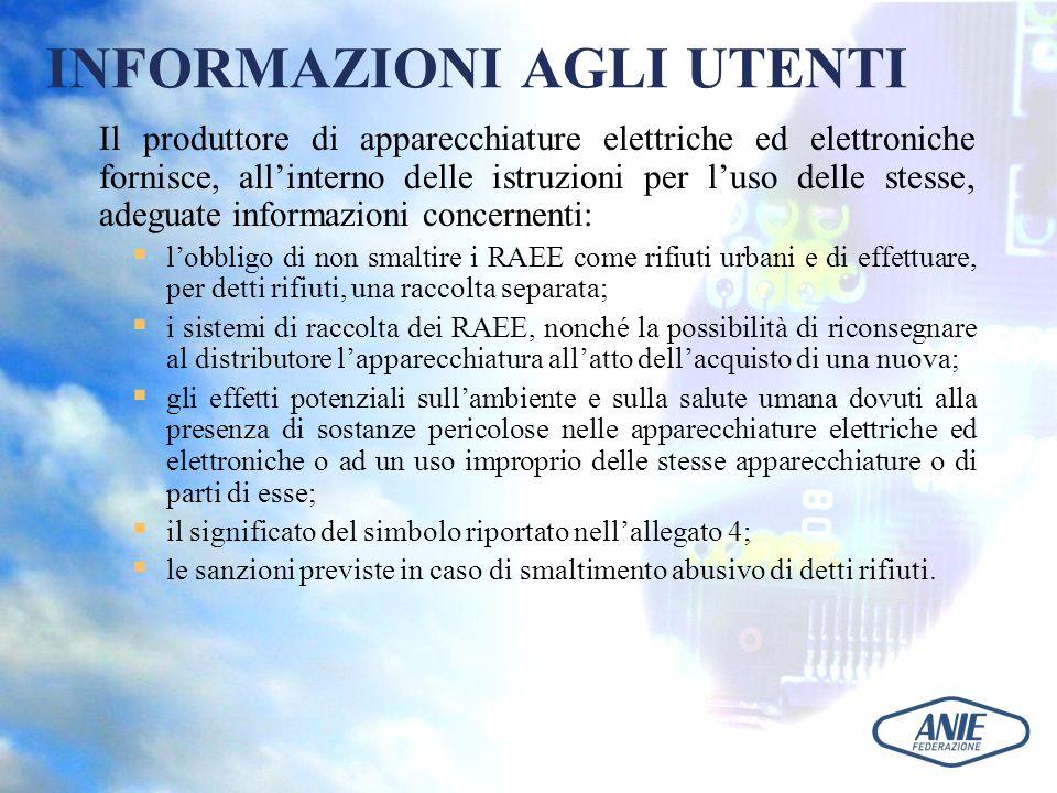 INFORMAZIONI AGLI UTENTI Il produttore di apparecchiature elettriche ed elettroniche fornisce, allinterno delle istruzioni per luso delle stesse, adeg
