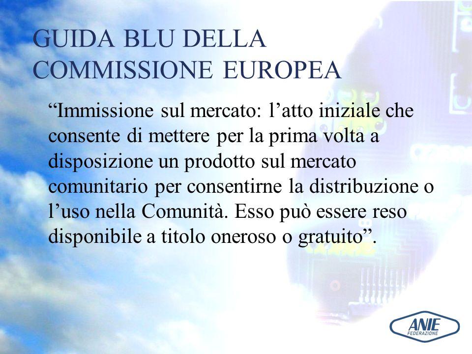 GUIDA BLU DELLA COMMISSIONE EUROPEA Immissione sul mercato: latto iniziale che consente di mettere per la prima volta a disposizione un prodotto sul m