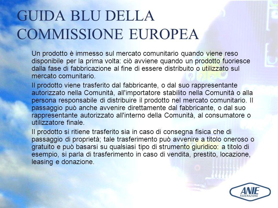 GUIDA BLU DELLA COMMISSIONE EUROPEA Un prodotto è immesso sul mercato comunitario quando viene reso disponibile per la prima volta: ciò avviene quando