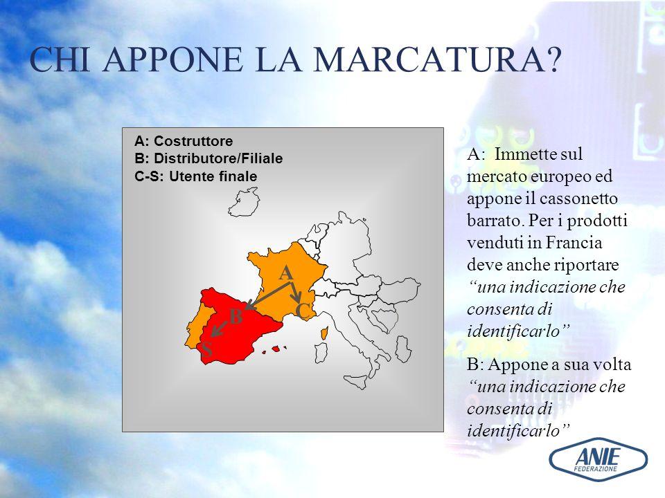 CHI APPONE LA MARCATURA? A S B C A: Immette sul mercato europeo ed appone il cassonetto barrato. Per i prodotti venduti in Francia deve anche riportar