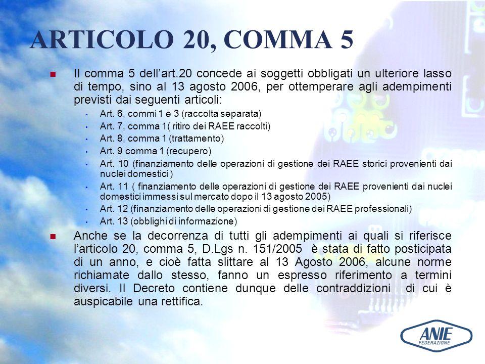 ARTICOLO 20, COMMA 5 Il comma 5 dellart.20 concede ai soggetti obbligati un ulteriore lasso di tempo, sino al 13 agosto 2006, per ottemperare agli ade