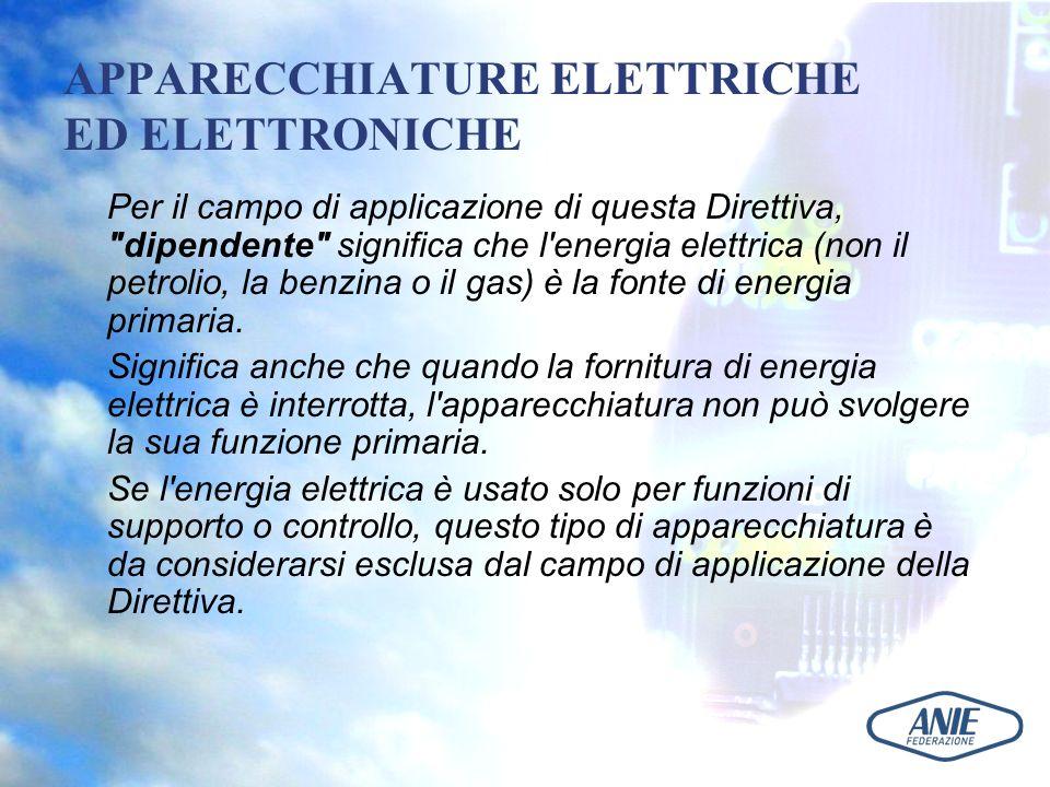 APPARECCHIATURE ELETTRICHE ED ELETTRONICHE Per il campo di applicazione di questa Direttiva,