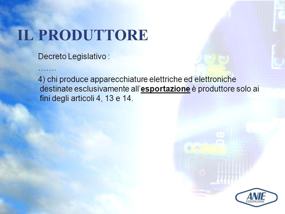 IL PRODUTTORE Decreto Legislativo : ……. 4) chi produce apparecchiature elettriche ed elettroniche destinate esclusivamente allesportazione è produttor