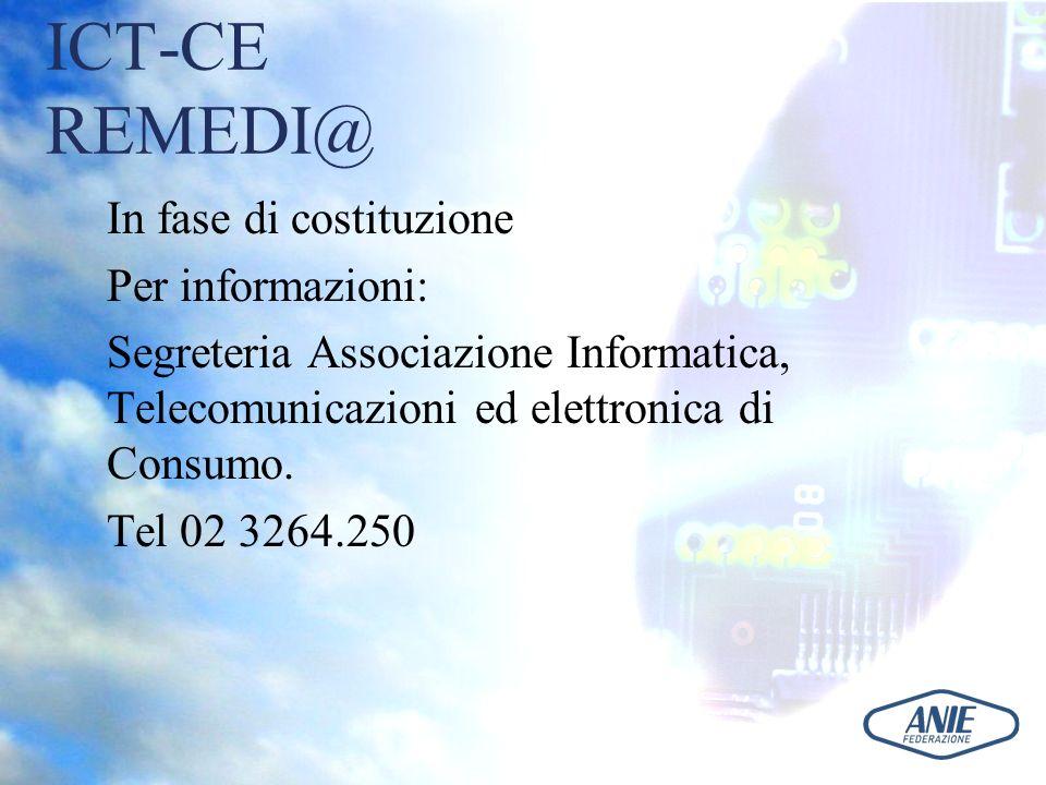 ICT-CE REMEDI@ In fase di costituzione Per informazioni: Segreteria Associazione Informatica, Telecomunicazioni ed elettronica di Consumo. Tel 02 3264