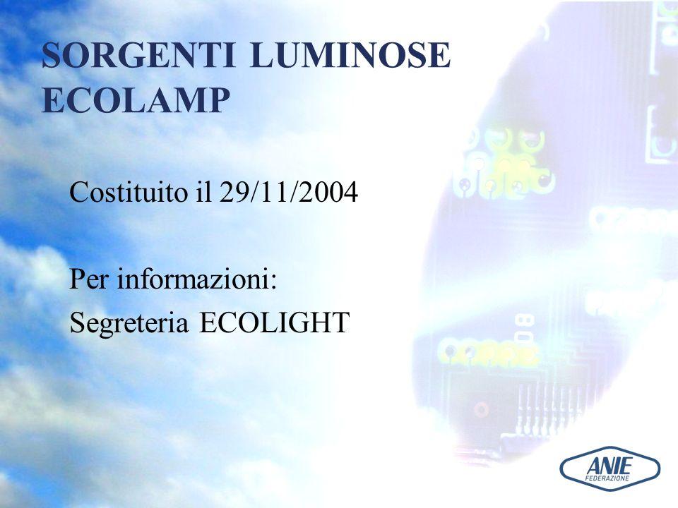 SORGENTI LUMINOSE ECOLAMP Costituito il 29/11/2004 Per informazioni: Segreteria ECOLIGHT