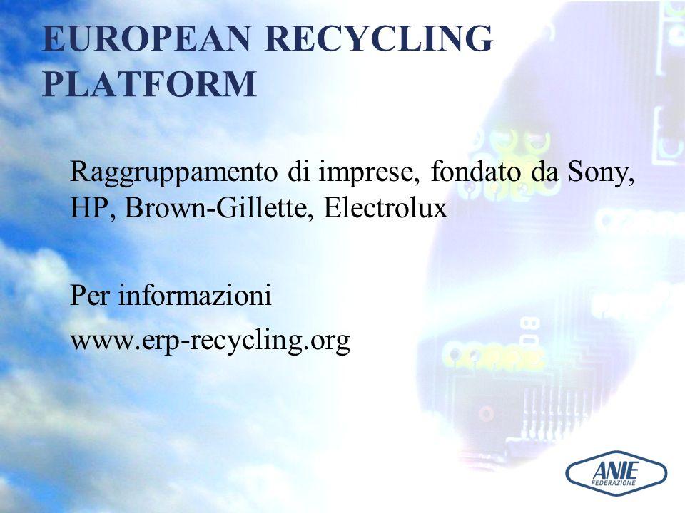 EUROPEAN RECYCLING PLATFORM Raggruppamento di imprese, fondato da Sony, HP, Brown-Gillette, Electrolux Per informazioni www.erp-recycling.org