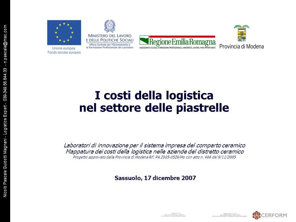 Nicolò Pascale Guidotti Magnani - Logistics Expert - 039-349.56.844.33 - n.pascale@mac,com I costi della logistica nel settore delle piastrelle Labora