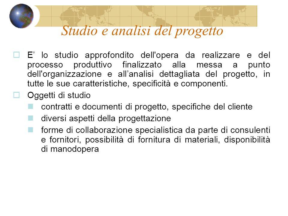Studio e analisi del progetto E lo studio approfondito dell'opera da realizzare e del processo produttivo finalizzato alla messa a punto dell'organizz