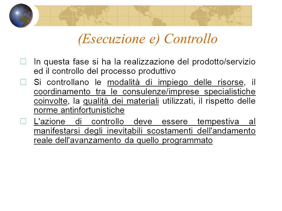 (Esecuzione e) Controllo In questa fase si ha la realizzazione del prodotto/servizio ed il controllo del processo produttivo Si controllano le modalit