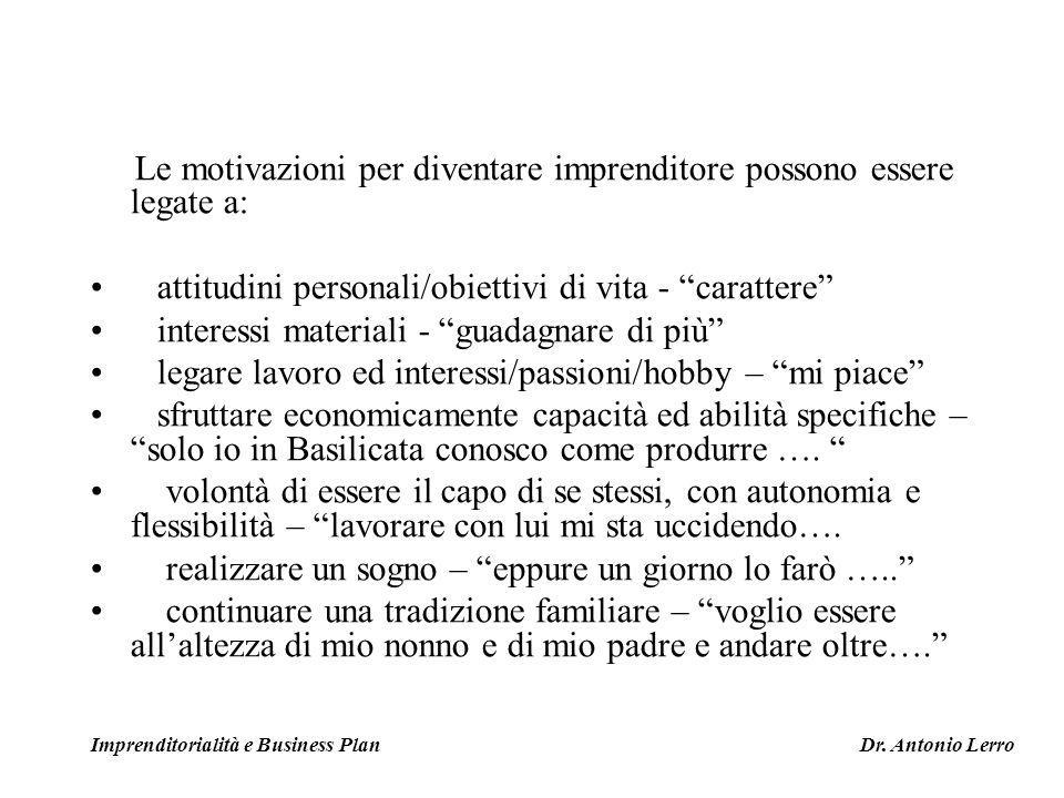 Le motivazioni per diventare imprenditore possono essere legate a: attitudini personali/obiettivi di vita - carattere interessi materiali - guadagnare