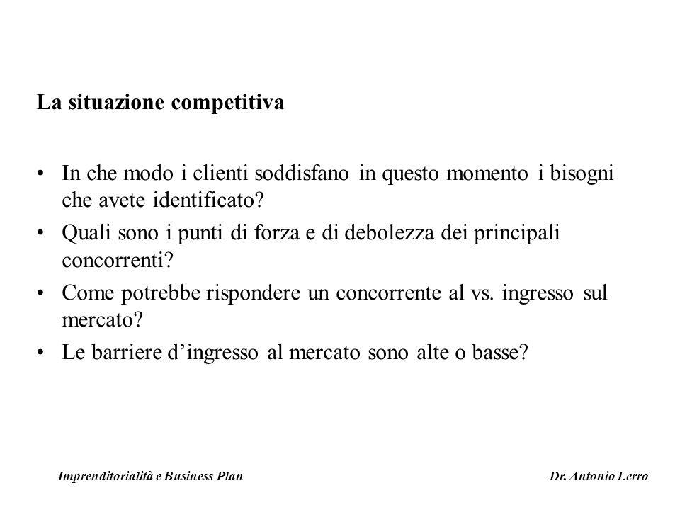 La situazione competitiva In che modo i clienti soddisfano in questo momento i bisogni che avete identificato? Quali sono i punti di forza e di debole