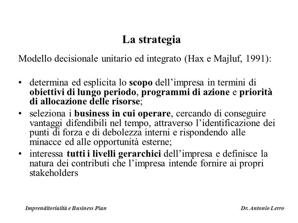 Modello decisionale unitario ed integrato (Hax e Majluf, 1991): determina ed esplicita lo scopo dellimpresa in termini di obiettivi di lungo periodo,