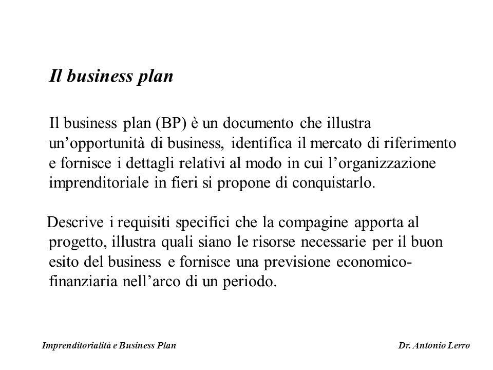 Il business plan Il business plan (BP) è un documento che illustra unopportunità di business, identifica il mercato di riferimento e fornisce i dettag