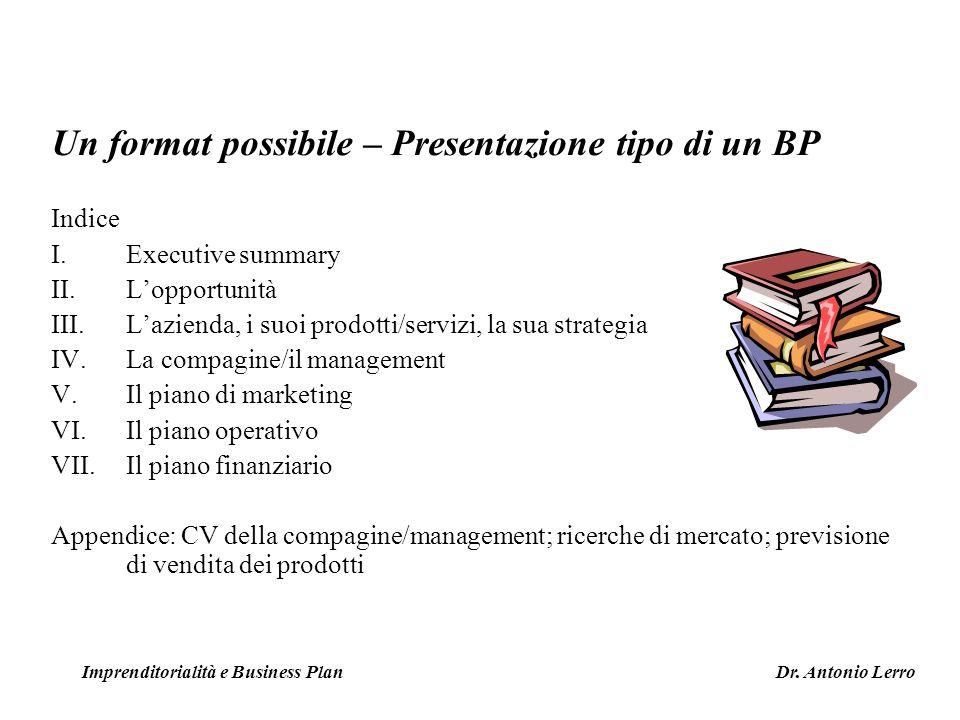 Un format possibile – Presentazione tipo di un BP Indice I.Executive summary II.Lopportunità III.Lazienda, i suoi prodotti/servizi, la sua strategia I