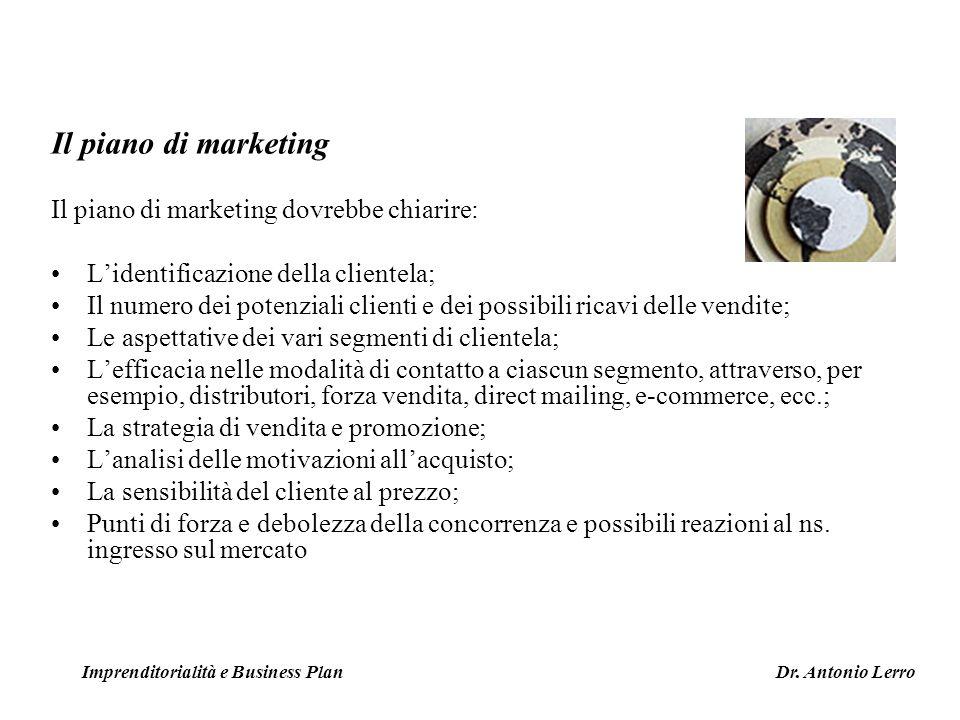 Il piano di marketing Il piano di marketing dovrebbe chiarire: Lidentificazione della clientela; Il numero dei potenziali clienti e dei possibili rica