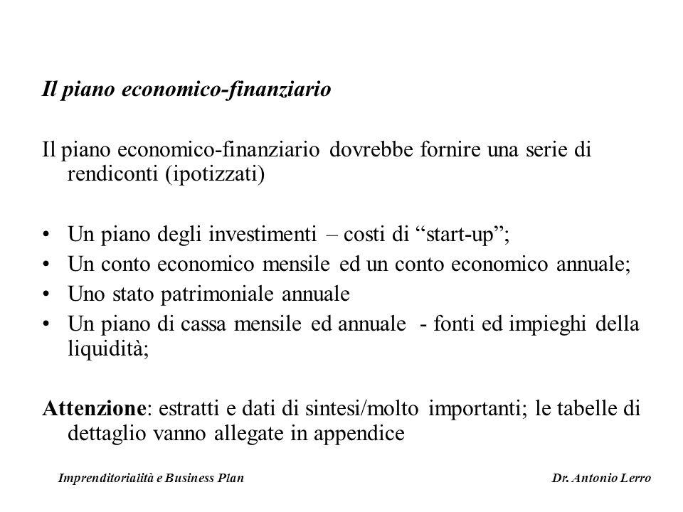 Il piano economico-finanziario Il piano economico-finanziario dovrebbe fornire una serie di rendiconti (ipotizzati) Un piano degli investimenti – cost