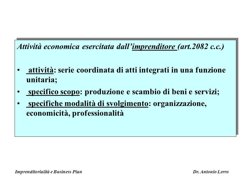 Attività economica esercitata dallimprenditore (art.2082 c.c.) attività: serie coordinata di atti integrati in una funzione unitaria; specifico scopo: