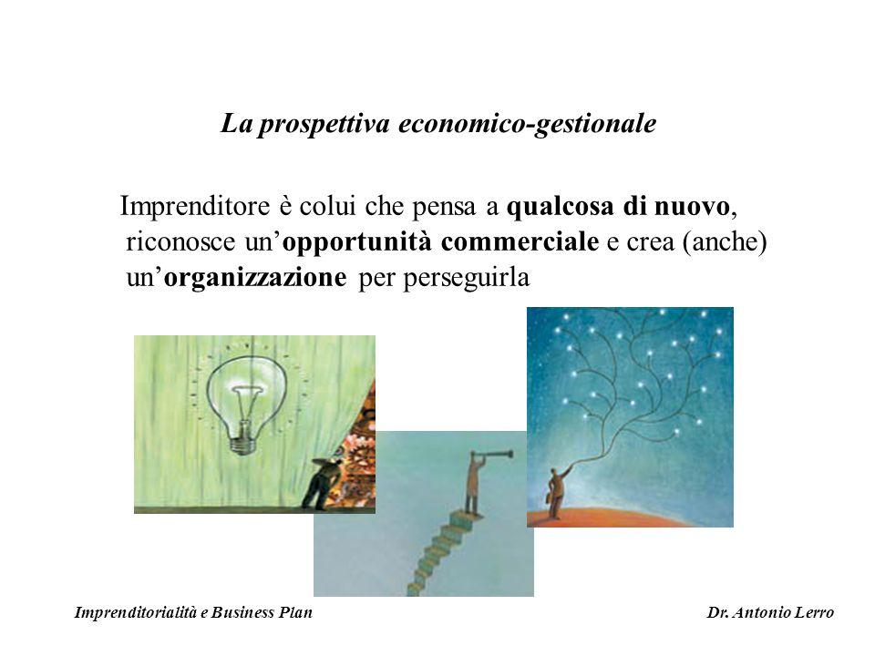 Imprenditore è colui che pensa a qualcosa di nuovo, riconosce unopportunità commerciale e crea (anche) unorganizzazione per perseguirla Imprenditorial