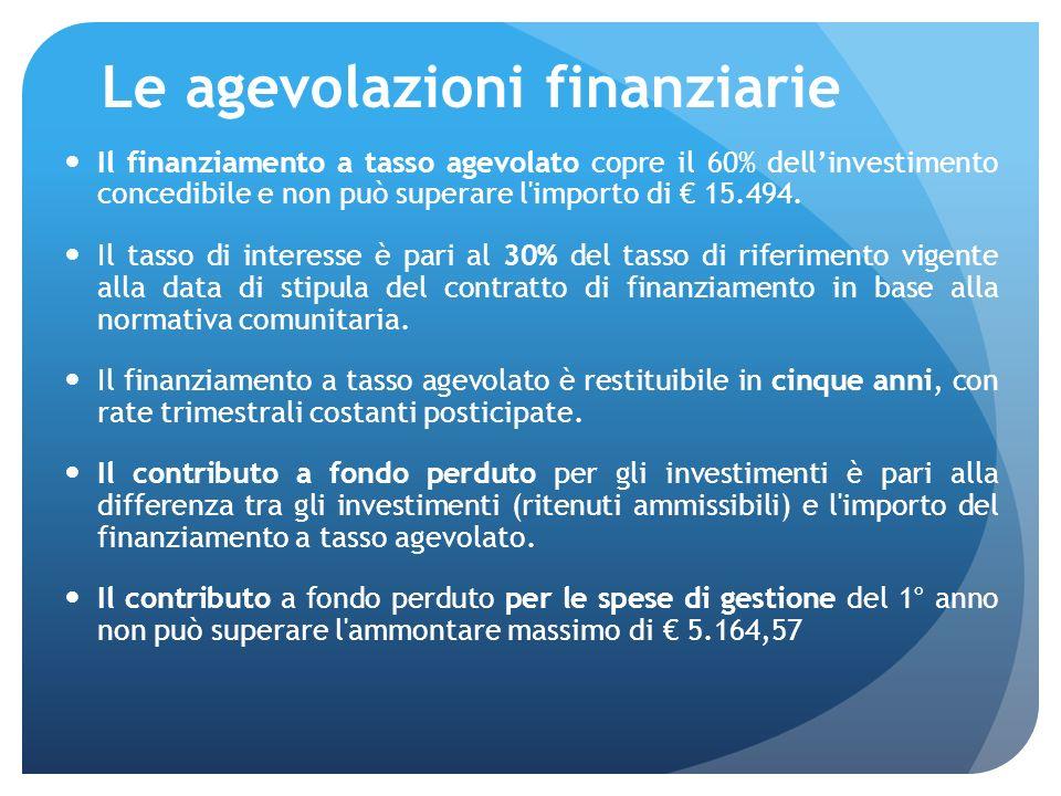 Le agevolazioni finanziarie Il finanziamento a tasso agevolato copre il 60% dellinvestimento concedibile e non può superare l importo di 15.494.
