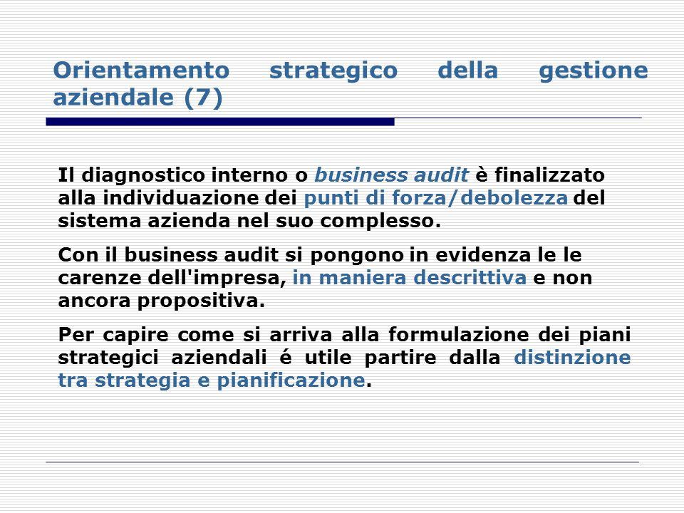 Orientamento strategico della gestione aziendale (7) Il diagnostico interno o business audit è finalizzato alla individuazione dei punti di forza/debo