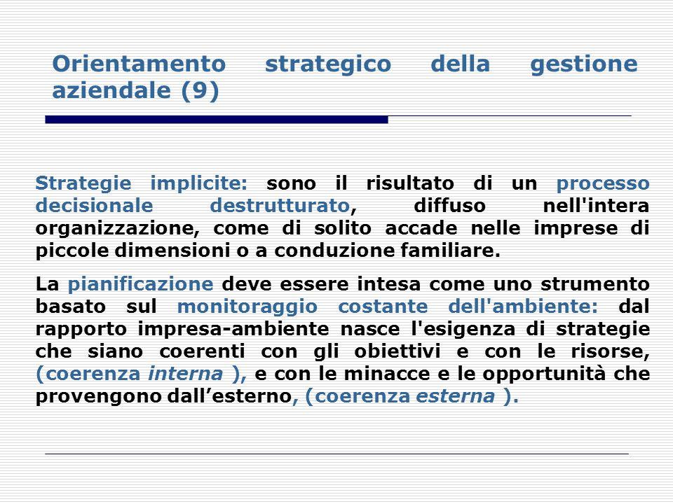 Orientamento strategico della gestione aziendale (9) Strategie implicite: sono il risultato di un processo decisionale destrutturato, diffuso nell'int