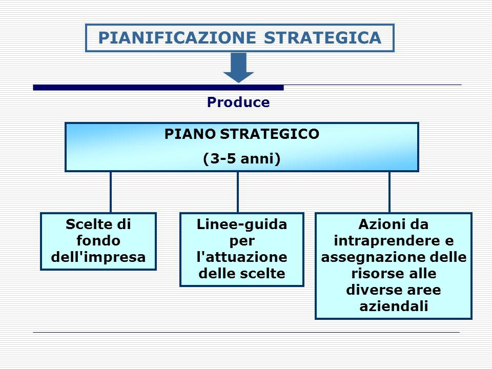 PIANO STRATEGICO (3-5 anni) PIANIFICAZIONE STRATEGICA Produce Scelte di fondo dell'impresa Linee-guida per l'attuazione delle scelte Azioni da intrapr