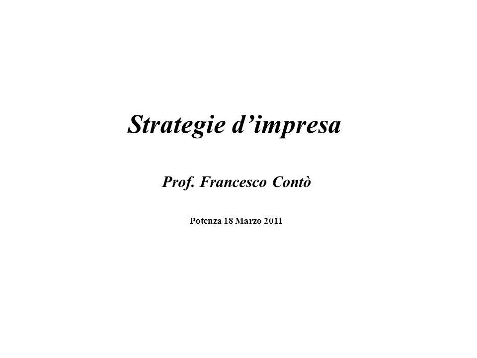 Strategie dimpresa Prof. Francesco Contò Potenza 18 Marzo 2011