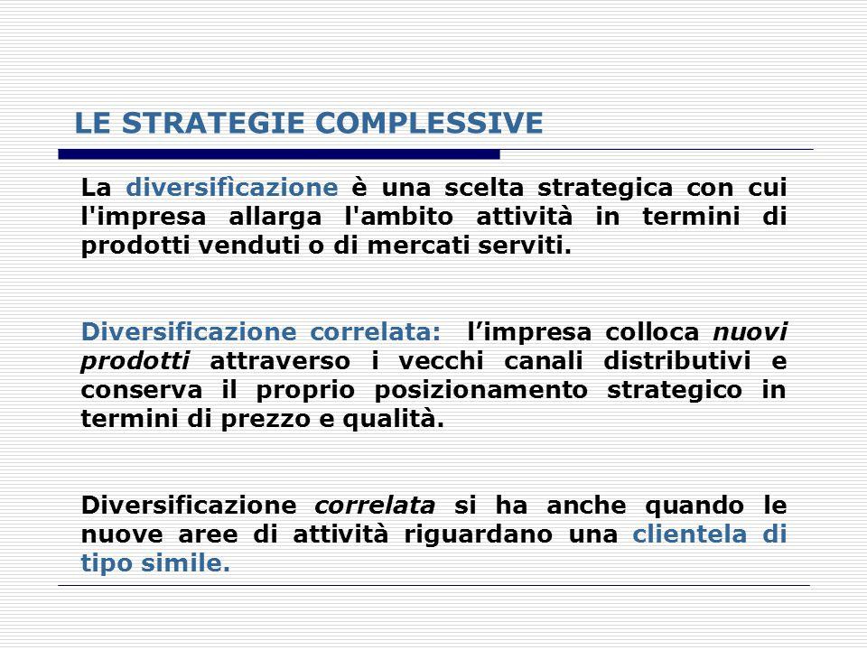 LE STRATEGIE COMPLESSIVE La diversifìcazione è una scelta strategica con cui l'impresa allarga l'ambito attività in termini di prodotti venduti o di m