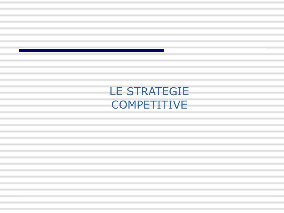 LE STRATEGIE COMPETITIVE