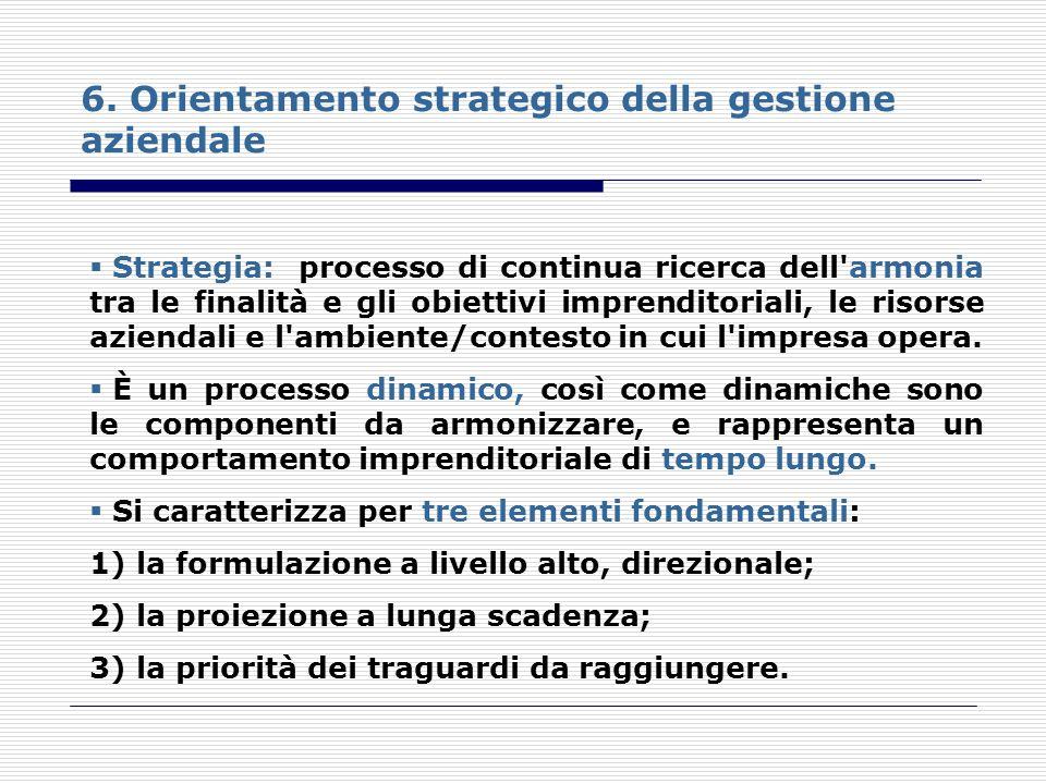 6. Orientamento strategico della gestione aziendale Strategia: processo di continua ricerca dell'armonia tra le finalità e gli obiettivi imprenditoria