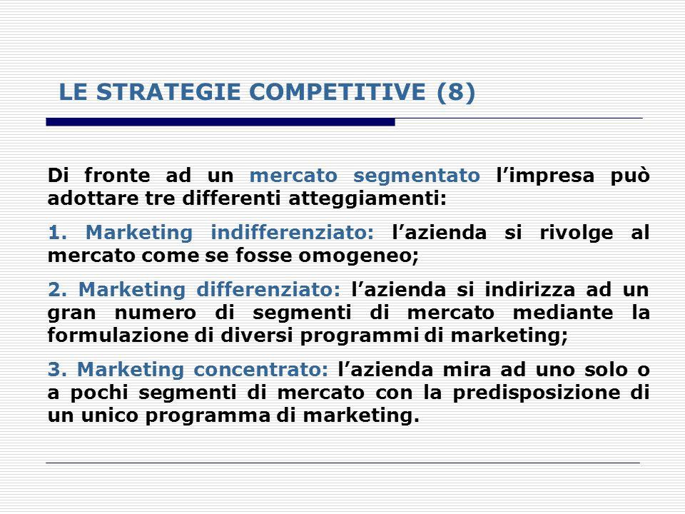 LE STRATEGIE COMPETITIVE (8) Di fronte ad un mercato segmentato limpresa può adottare tre differenti atteggiamenti: 1. Marketing indifferenziato: lazi