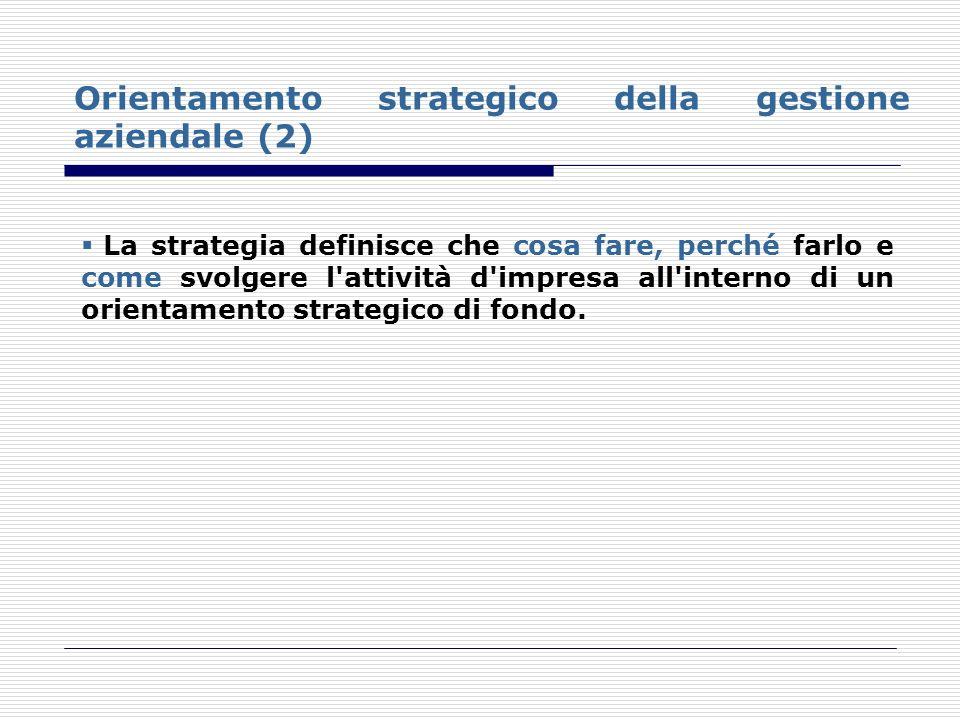 Orientamento strategico della gestione aziendale (2) La strategia definisce che cosa fare, perché farlo e come svolgere l'attività d'impresa all'inter