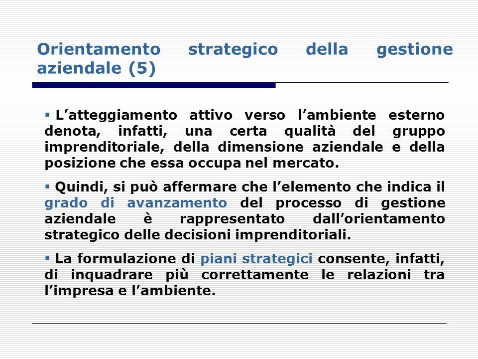 Orientamento strategico della gestione aziendale (5) Latteggiamento attivo verso lambiente esterno denota, infatti, una certa qualità del gruppo impre