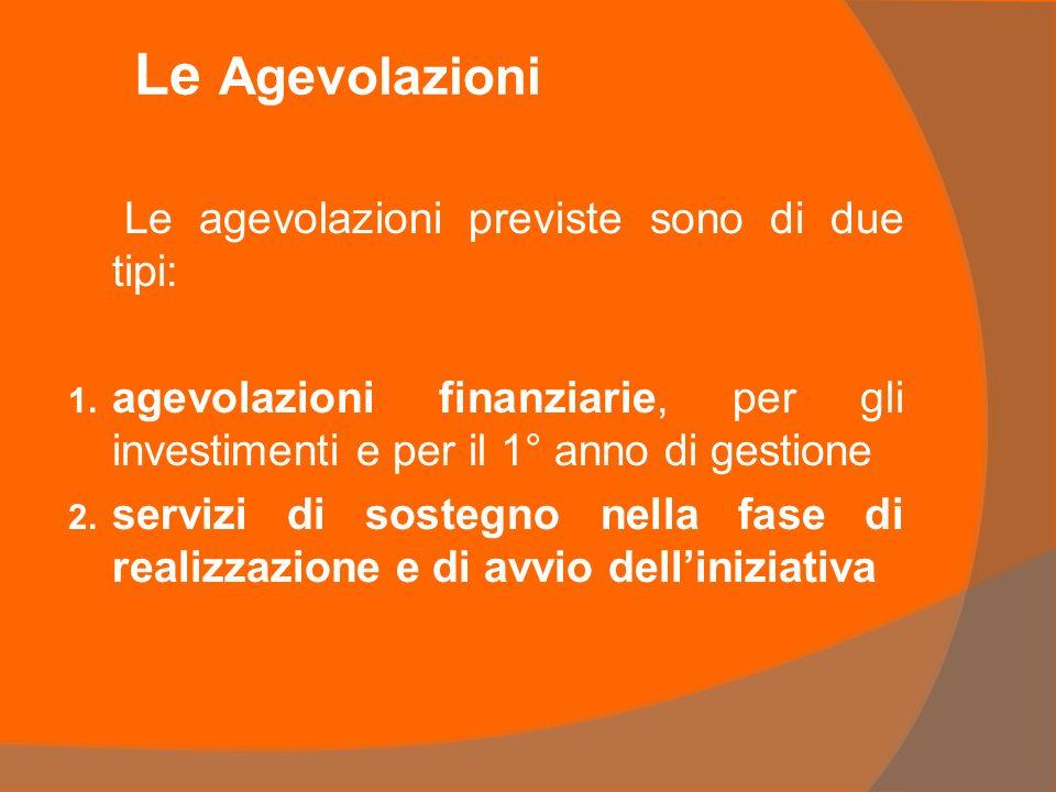 Le Agevolazioni Le agevolazioni previste sono di due tipi: 1.