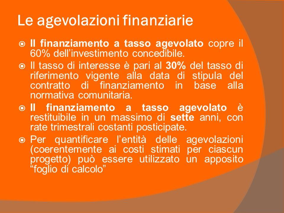 Le agevolazioni finanziarie Il finanziamento a tasso agevolato copre il 60% dellinvestimento concedibile.