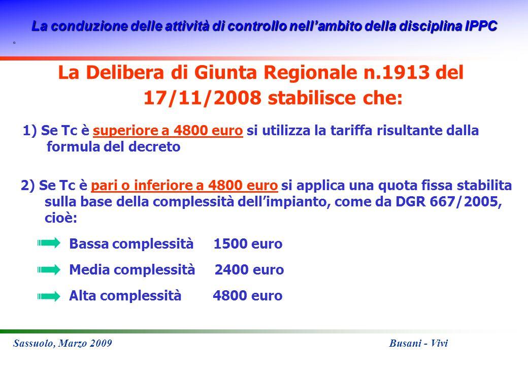 La conduzione delle attività di controllo nellambito della disciplina IPPC Sassuolo, Marzo 2009 Busani - Vivi La Delibera di Giunta Regionale n.1913 d